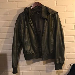 Hooded Faux Leather Jacket size L